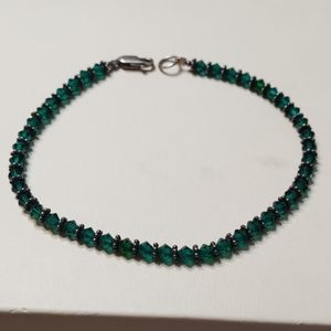 Green Glass Sterling Silver Braclet